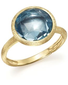 18k Yellow Gold Jaipur Ring With Blue Topaz