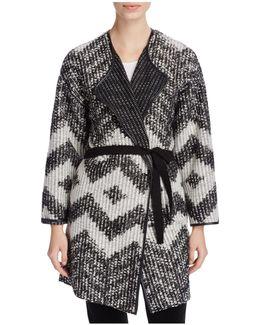 Chevron Knit Belted Cardigan