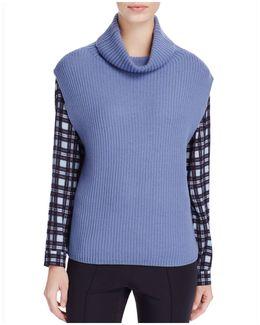 Draped Turtleneck Sweater Vest