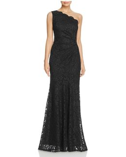One Shoulder Lace Gown
