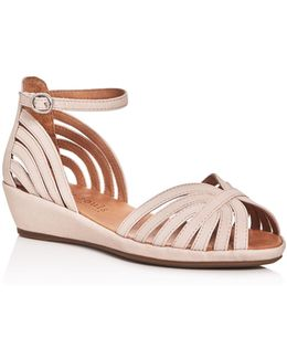 Leah Ankle Strap Demi Wedge Sandals