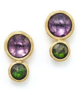 18k Yellow Gold Jaipur Two Stone Earrings With Amethyst And Green Tourmaline