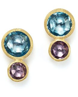 18k Yellow Gold Jaipur Two Stone Earrings With Blue Topaz And Amethyst