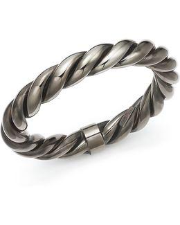 Ruthenium Finished Sterling Silver Twist Bangle Bracelet