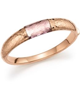 18k Rose Gold Martellato Bangle With Amethyst