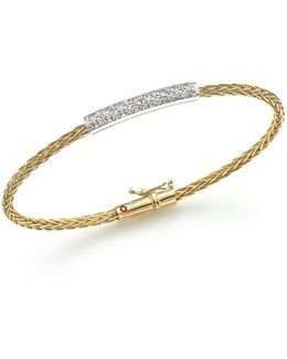 18k Yellow And White Gold Spiga Bangle Bracelet With Diamonds