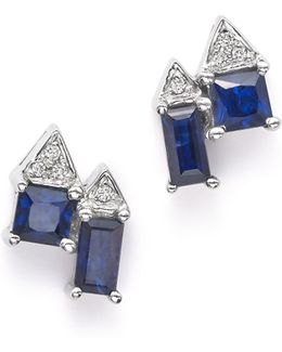 14k White Gold Kristen Kylie Stud Earrings With Dark Blue Sapphires And Diamonds