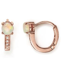 14k Rose Gold Charlie Caroline Huggie Hoop Earrings With Opals And Diamonds