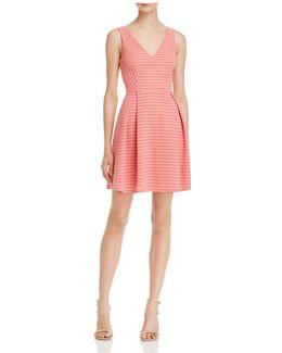Stripe Mesh Texture Pleat Dress