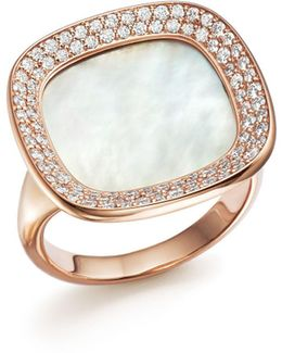 18k Rose Gold Carnaby Street Diamond And Mother-of-pearl Ring