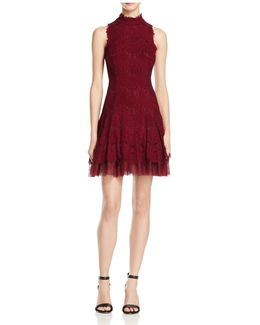 Lace Mockneck Dress
