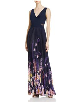 Pleated Chiffon Combo Gown