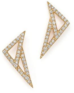 14k Yellow Gold Aria Selene Geometric Earrings With Diamonds
