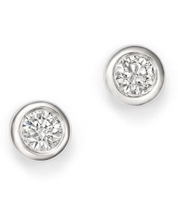 14k White Gold Diamond Bezel Stud Earrings