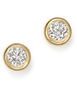 14k Yellow Gold Diamond Bezel Stud Earrings