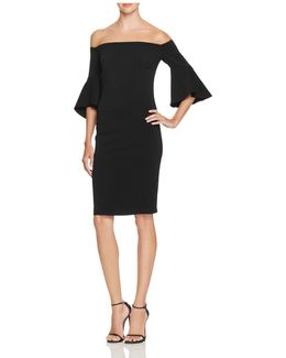 Off The Shoulder Crepe Sheath Dress
