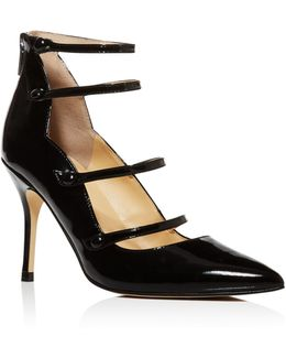 Dritz Patent Leather Strappy Pointed Toe Mary Jane Pumps