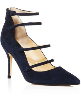 Dritz Suede Strappy Pointed Toe Mary Jane Pumps