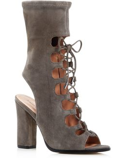 Linda Lace Up Open Toe Booties
