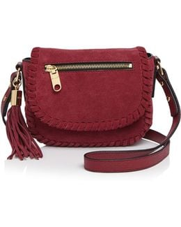 Small Astor Suede Whipstitch Saddle Bag