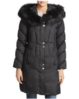 Smocked Waist Puffer Coat