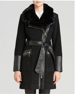 Wool-blend Asymmetric-zip Belted Coat