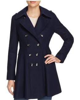 Skirted Double-breasted Button Front Coat