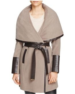 Belted Faux Leather Trim Coat