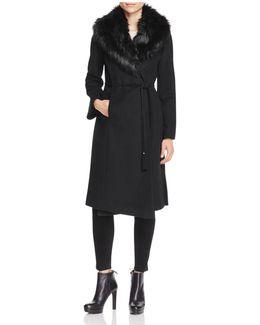 Belted Faux Fur-trim Wrap Maxi Coat