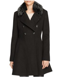 Double-breasted Faux Fur-trim Wool Blend Coat