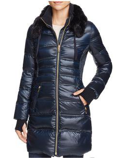 Faux Fur-trim Down Coat