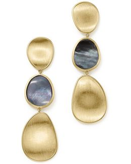 18k Yellow Gold Lunaria Black Mother-of-pearl Triple Drop Earrings