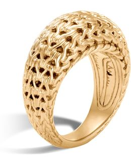 18k Yellow Gold Classic Chain Dome Ring