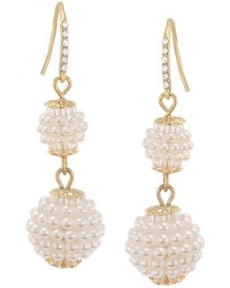 Simulated Pearl Double Drop Earrings