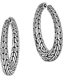 Sterling Silver Classic Chain Graduated Hoop Earrings