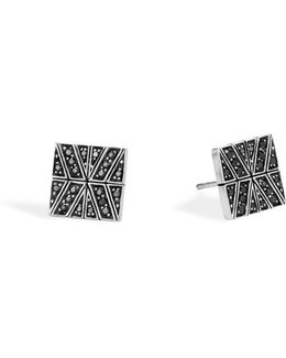 Sterling Silver Modern Chain Stud Earrings With Black Sapphire