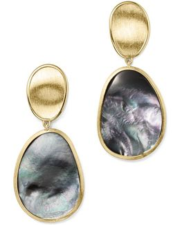18k Yellow Gold Lunaria Black Mother-of-pearl Double Drop Earrings