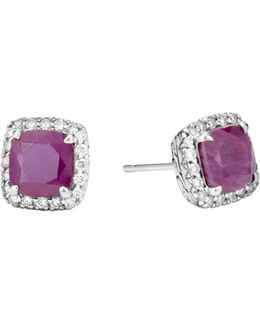 Sterling Silver Classic Chain Magic Cut Indian Ruby Stud Earrings With Diamonds