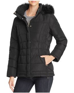 Faux Fur-trim Hooded Puffer Coat