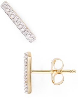 Diamond Pavé Bar Stud Earrings
