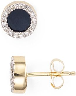 Onyx & Diamond Disc Stud Earrings