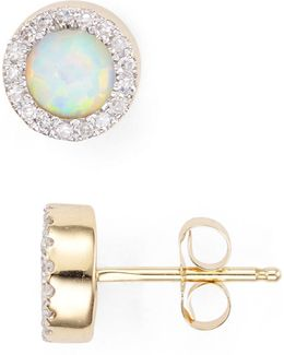 Opal & Diamond Disc Stud Earrings