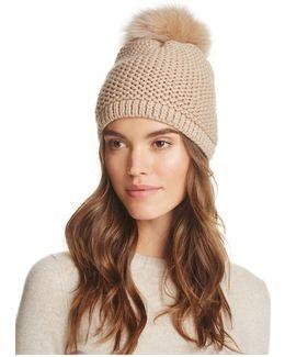 Slouchy Hat With Fox Fur Pom-pom