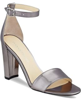 Emalyn Metallic Ankle Strap Block Heel Sandals