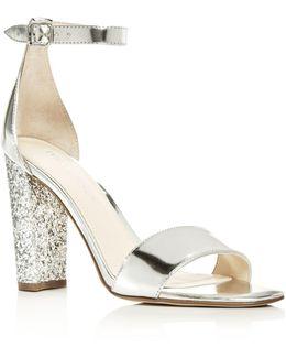 Emalyn Metallic Ankle Strap Block Heel Sandals
