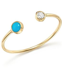 14k Yellow Gold Open Ring With Bezel Set Turquoise And Diamond