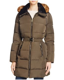 Belted Faux Fur Trim Down Coat