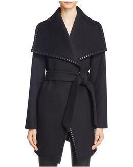 Natasha Leather Trim Wrap Coat