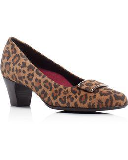Mara Leopard Print Mid Heel Pumps
