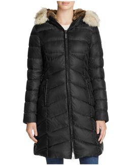 Nola Fox Fur-trim Down Puffer Coat